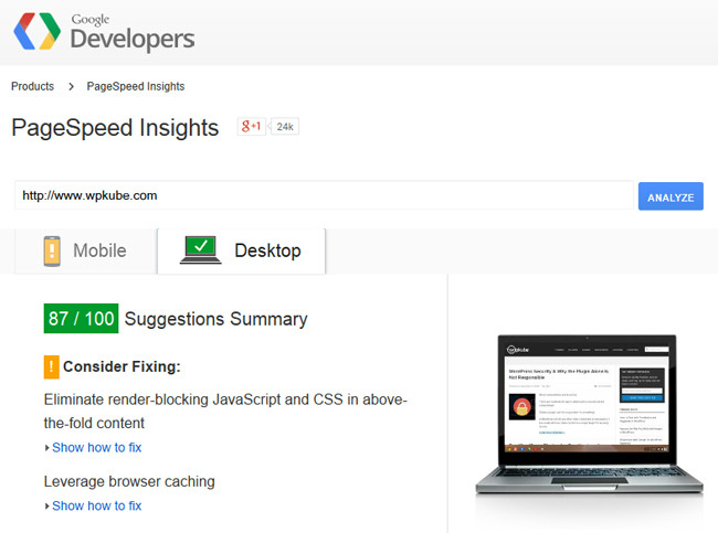 Gogle Pagespeed Insights