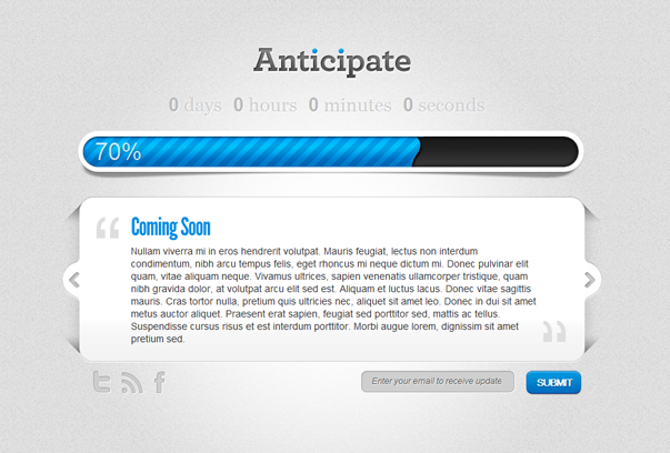 Anticipate coming soon theme for WordPress