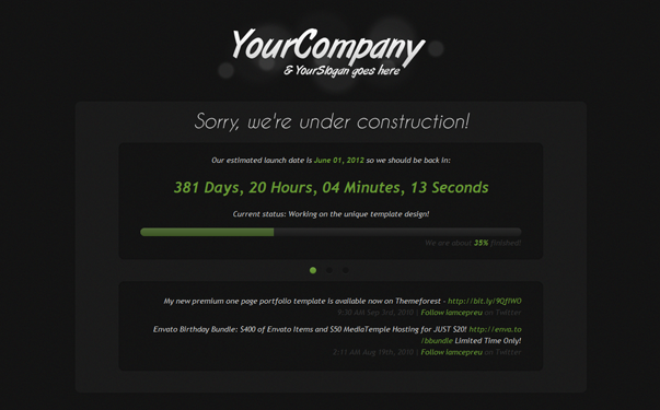 Under construction page your company theme