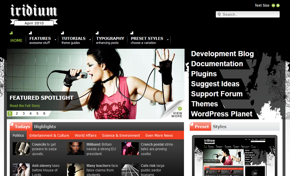 Iridium wordpress theme