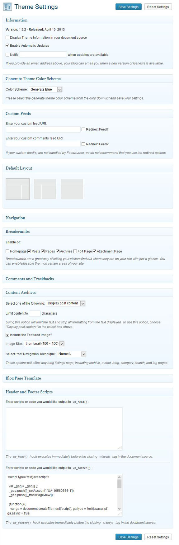 Genesis theme settings page