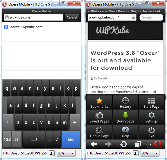 Opera Phone Emulation