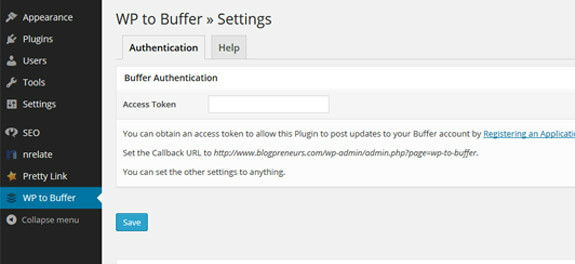 wp to buffer settings page