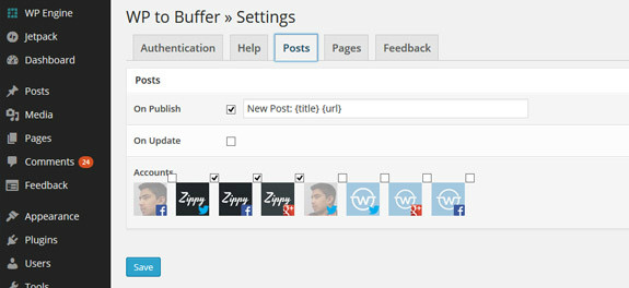 wp to buffer settings posts