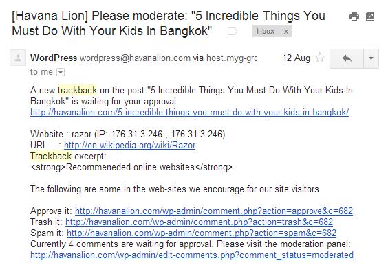 Pingback Trackback Example