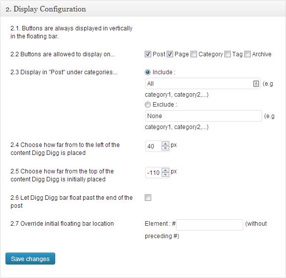 Social Sharing Digg Digg settings