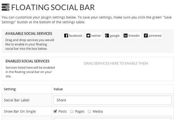 Social Sharing Floating Bar Settings