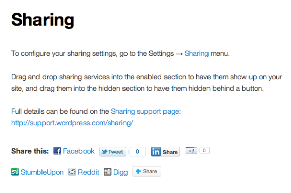 Social Sharing Jetpack Sharing