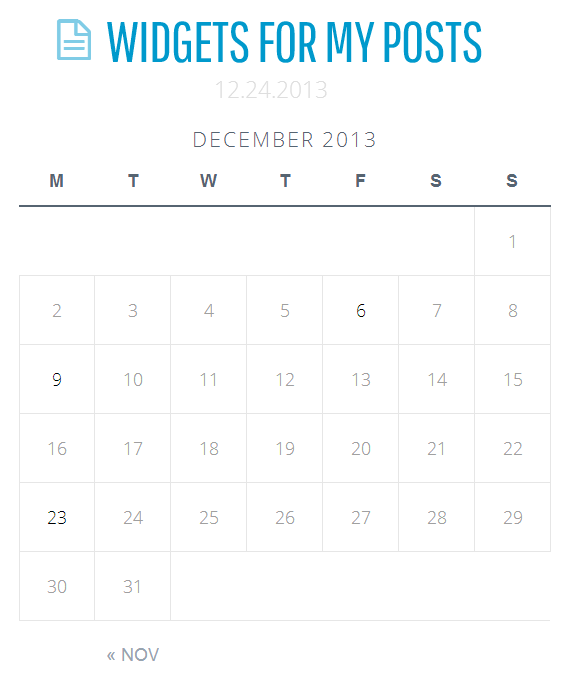 Widgets on Pages Calendar