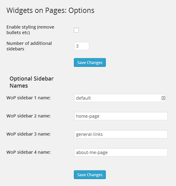 Widgets on Pages Options