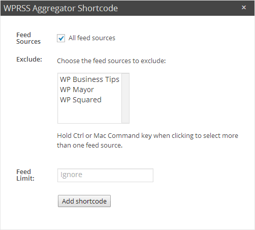 WP RSS Aggregator Shortcode