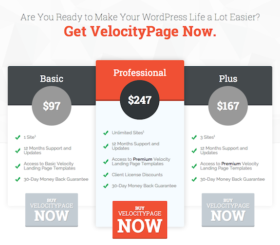 Pricing chart for VelocityPage