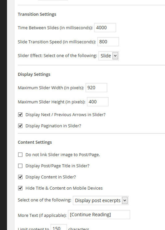 Transition, display, and content settings