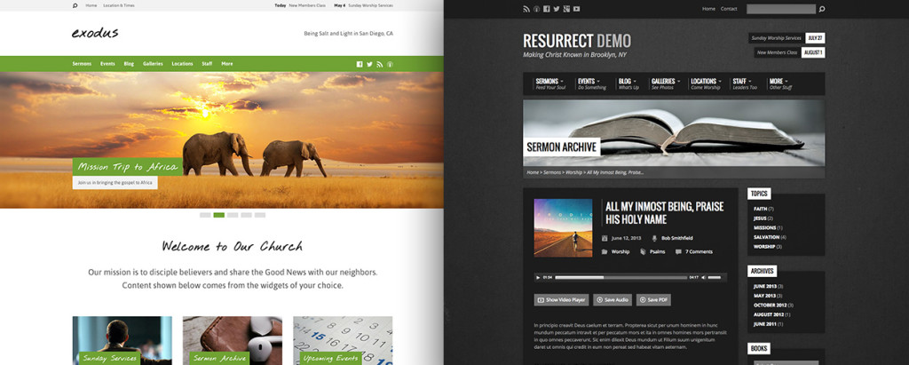 Exodus and Resurrect church wordPress themes
