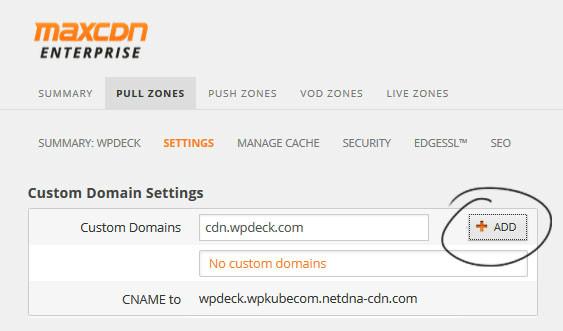 maxcdn domain settings