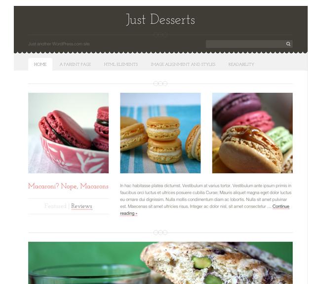 Just Desserts - A premium food blog WordPress theme by Automattic