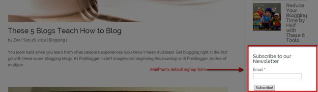 mailpoet sidebar form