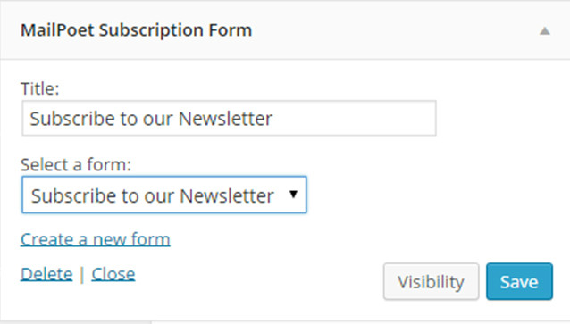 mailpoet subscription form
