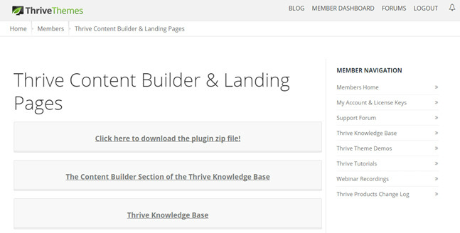 ThriveThemes page content page builder