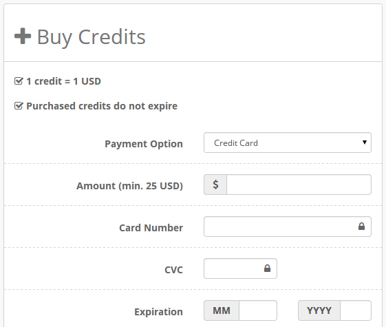 Buying Credits