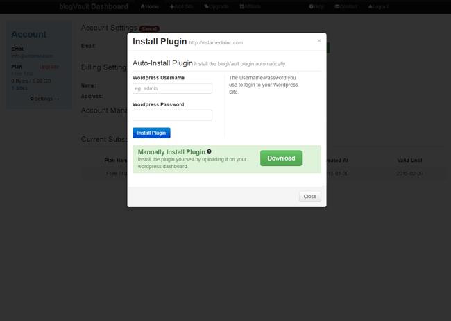 blogVault Install blogVault Plugin