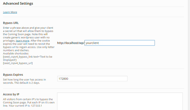seed prod coming soon pro bypass url settings