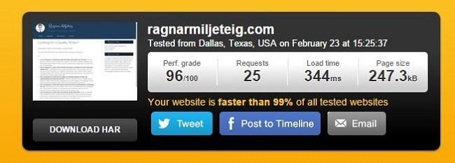 pingdom speed test after optimizations