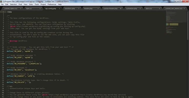 configure wp-config.php file