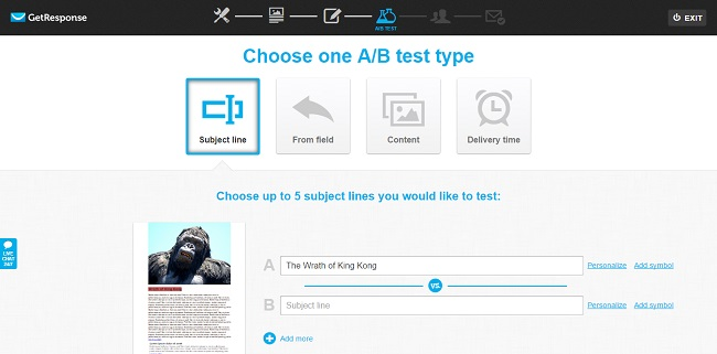 Get Response A/B testing options