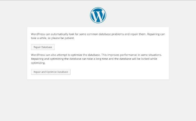 wordpress-database-repair-screen