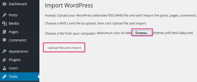 Upload with WordPress Importer