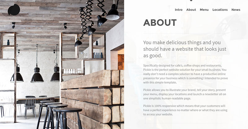 Pickle, a one-page WordPress template for restaurant websites: About section