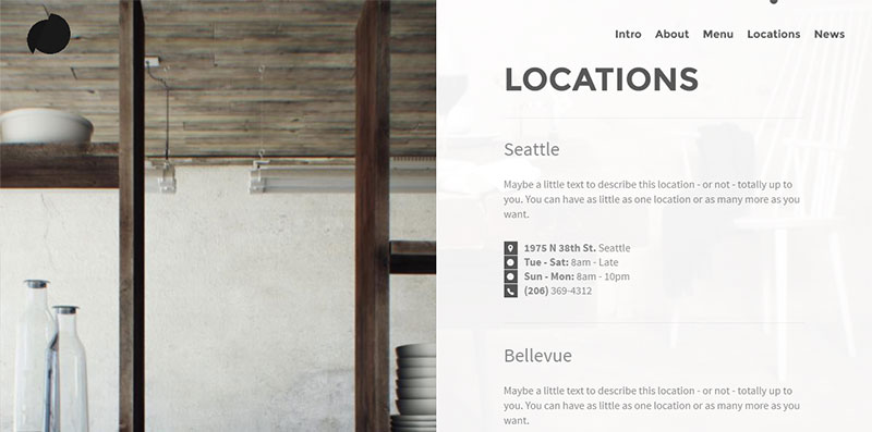 Pickle, a one-page WordPress template for restaurant websites: Locations sections