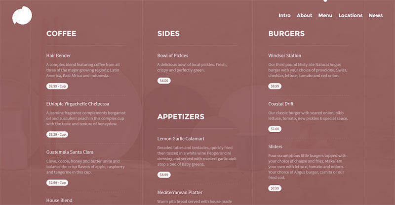 Pickle, a one-page WordPress template for restaurant websites: Menus section