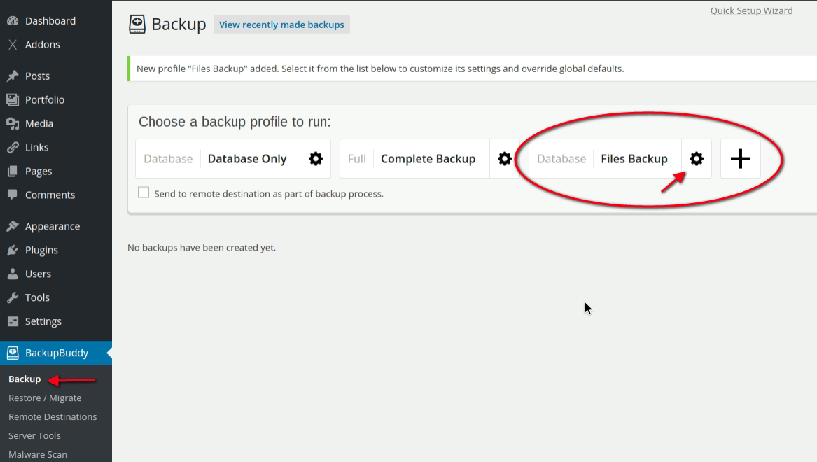 Backup profiles settings