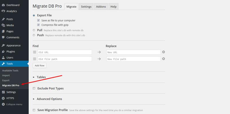 WP Migrate DB Pro menu item