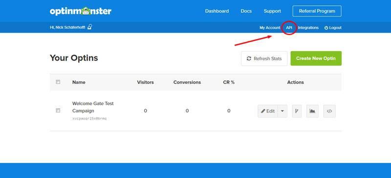 OptinMonster API menu