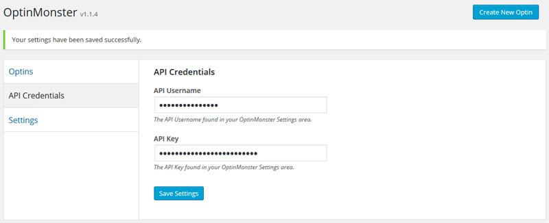 OptinMonster plugin API credentials