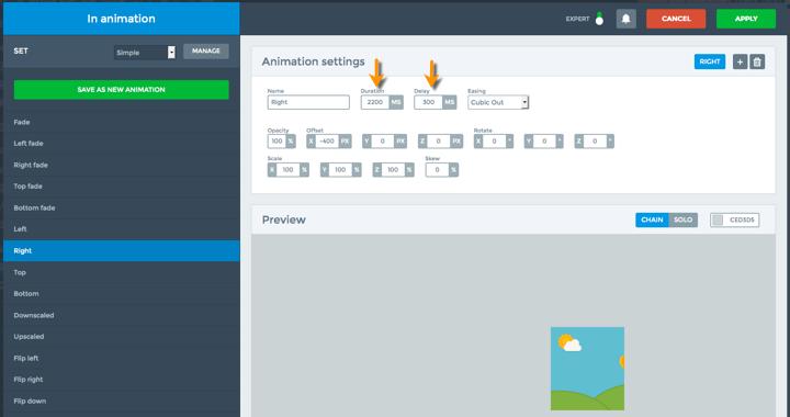 Smart Slider In Animation Settings