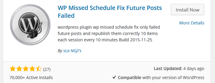 WP Missed Schedule Fix Future Posts Failed Plugin