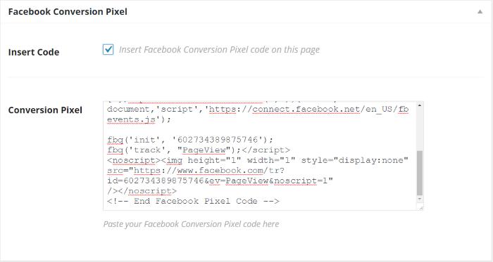 Facebook Conversion Pixel code
