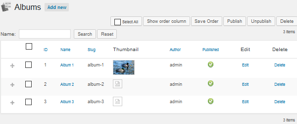 Photo Gallery - Add Albums