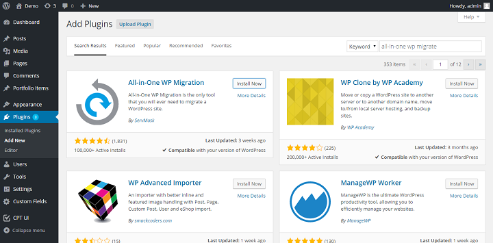 Migrate WordPress Sites Using The All in One WP Migration plugin