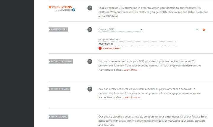 Change Your Nameservers Namecheap