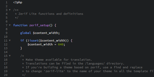 functions.php in Brackets Text Editor
