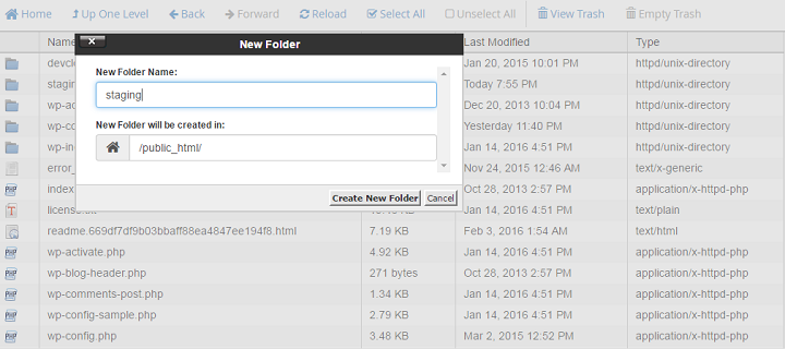 Create New Folder For Staging Environment For WordPress