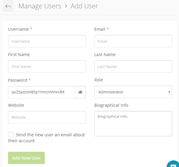 ManageWP Orion - Add New User
