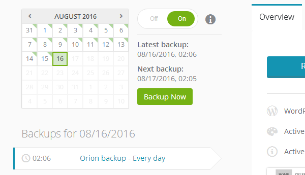 ManageWP Orion - Automatic Backups