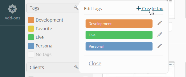ManageWP Orion - Create Tag