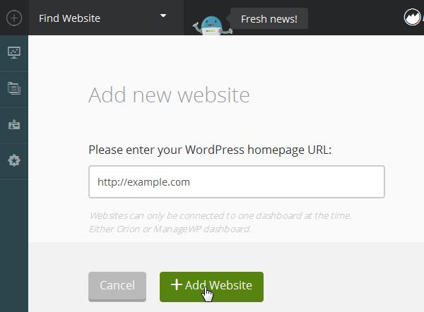 ManageWP Orion - Enter URL